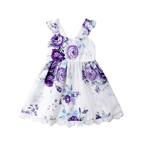 Toddler Kids Baby Girl Vintage Floral Dress Ruffle Sleeveless Lace Tutu Skirt Backless Sundress Princess Formal Outfit 1-5Y(Purple 4T)