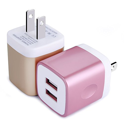 USB Wall Charger, Charging Block, HUHUTA 2 Pack 2.1A/5V Dual Port USB Charger Brick Plug Cube for iPhone X/8/7/6 Plus 5/4S, Samsung Galaxy S8/S7/S6, Moto, HTC, Huawei, LG