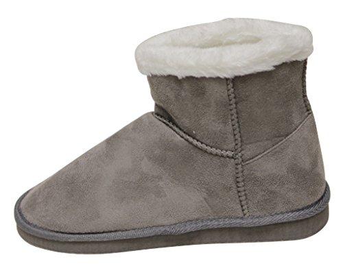 C Etiketten Cupcake-118 Womens Vinter Varme Komfort Ankelen Semsket Fuskepels Fôr Tilfeldige Snø Støvler Grå