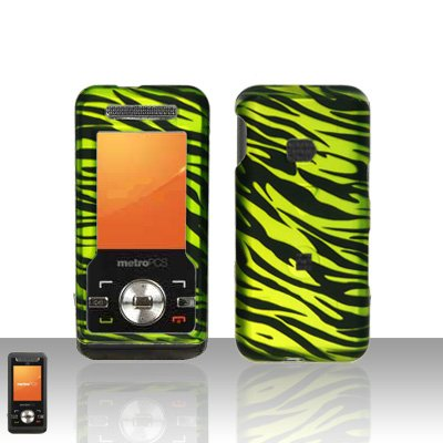 ZTE Essenze C70 MetroPCS Rubberized Neon Green Zebra HARD PROTECTOR COVER CASE SNAP ON PERFECT FIT