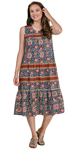 La Cera Cotton Sleeveless Dresses Muumuu Dress - Mexicali Crimson (red/Navy, Medium) (Sleeveless Muumuu)