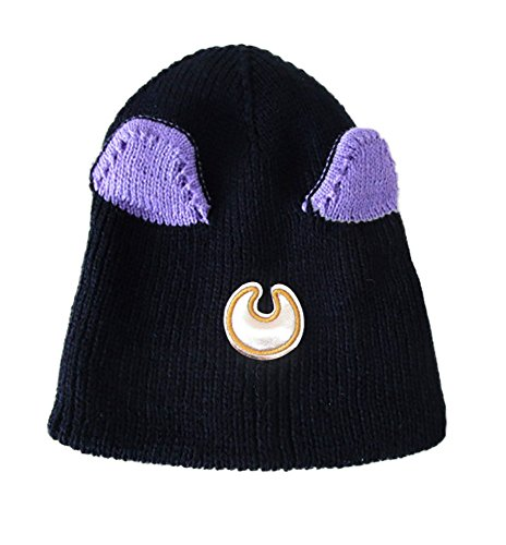 [TOKYO-T Sailor Moon Hat Womens Cat Ear Beanie Headcap Costume (Black)] (Sailor Moon Cat Costume)