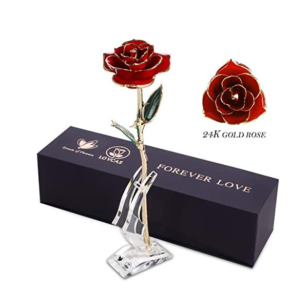 Gold Dipped Rose, Gold Plated Rose, 24k Gold Red Rose Flower with Long Stem Rose and Crystal Stand, Rose Flower Gifts for Anniversary, Birthday, Valentine's Day, Wedding, Gift for Her Wife Girlfriend