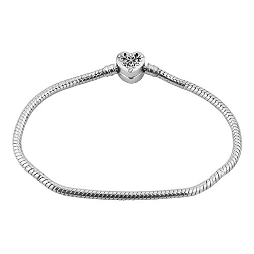 LilyJewelry Flower Heart Clasp Charm Snake 8.3 inches Chain Bracelet For European Bead Charms