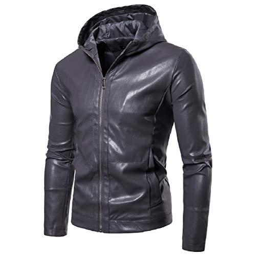 Energy Outwear Gray Zipper Washed Jackets Rock Hood Punk Pure PU Mens Coats Color rOxqWw01rF