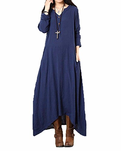 l Cotton Linen Long Sleeve Loose Kaftan Maxi Dress Navy L (Kaftan Long Sleeve)