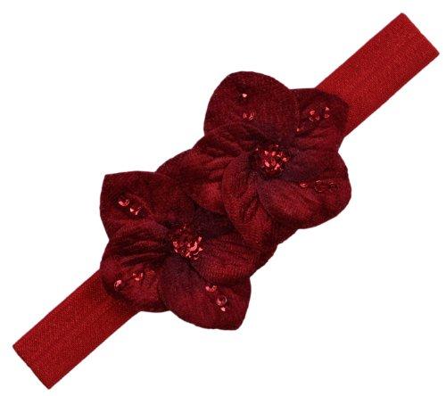 Chloe Band - Chloe Velvet Flower Elastic Baby Headband (0-12 Months, Red)