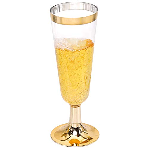IOOOOO Gold Champagne Flutes 50 PACK, 6 Oz Disposable Champagne Glasses, Plastic Toasting Glasses for Celebration, Wedding or Parties