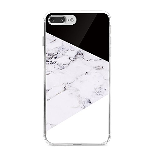 Obbii Case for iPhone 8/7/6/6S Plus Case (5.5 inch) Geometric Black White Marble Design Tempered Glass Back + Soft TPU Bumper Protective Durable Cover Case Compatible with iPhone 8/7/6S/6 Plus