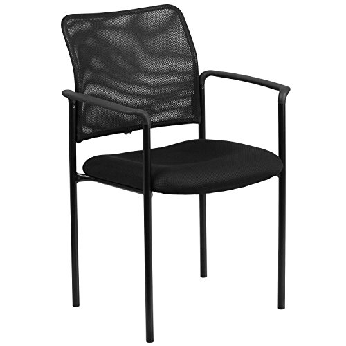 Flash Furniture Comfort Black Mesh Stackable Steel Side Chair with Arms
