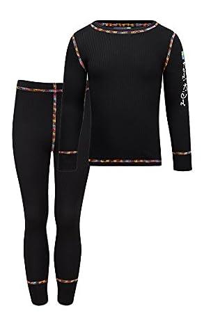 Kozi Kidz Vasa Base Layer - Conjunto térmico de ropa interior para niño, color negro