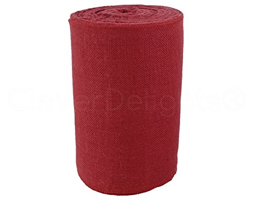CleverDelights 12'' Premium Red Burlap Roll - 50 Yards - No-Fray Finished Edges - Natural Jute Burlap Fabric by CleverDelights (Image #1)