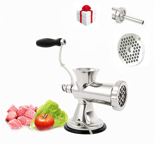 Tuntrol Commercial manual meat grinder sausage filling machine stainless steel meat grinder Meat Grinding Sausage Filler Filling Machine for Pork Beef Fish Chicken Rack Pepper With Two Enema Mouths)