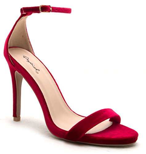 Qupid Women's Grammy-01 Dress Sandal red vel 10