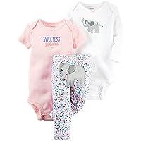 Carter's Baby Girls 3 Pc Back Art 126g368, Pink, 9 Months
