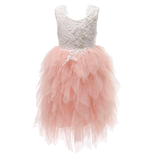 (Flower Girl Beaded Peony Lace Tiered Tutu Tulle Party Dress Girls Maxi Dresses (Pink, 4T))