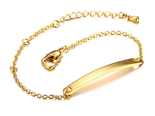 Free-Engraving Gold Plated Stainless Steel Personalized Super Thin Tag Bar ID Chain Bracelets for Women Girls