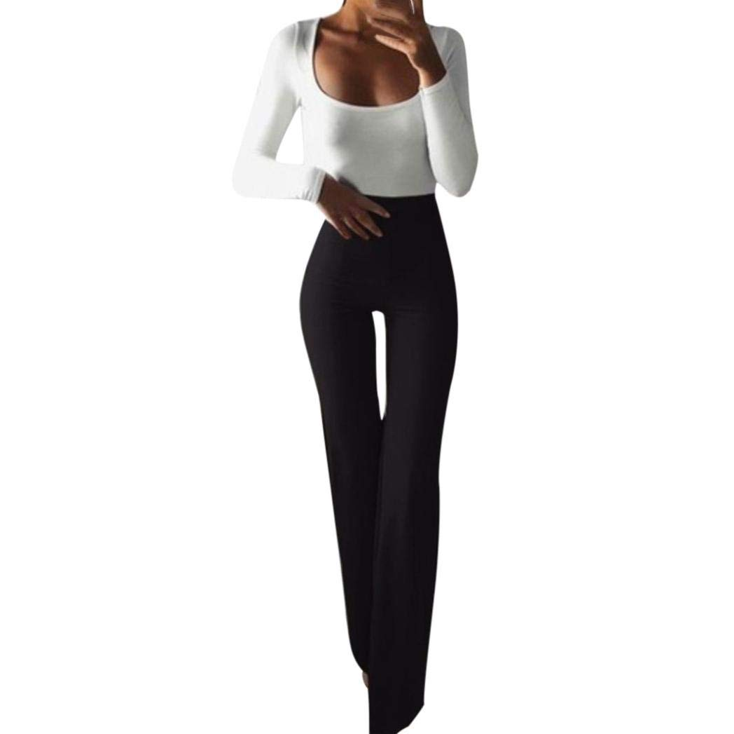 Pants For Women, Clearance Sale! Pervobs Women Skinny Solid Elasticity High Waist Leggings Slim Bell-bottoms Pants(L, Black)