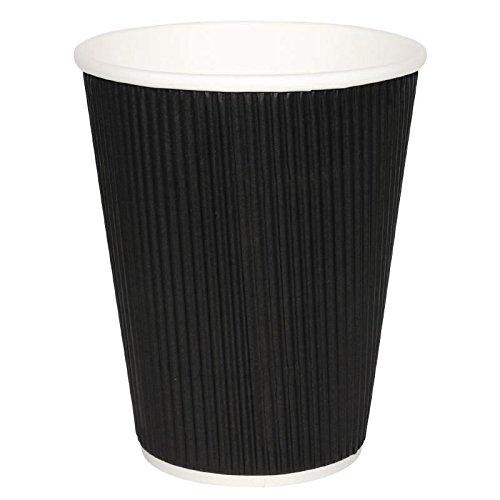 500x fiesta caliente taza ondulaciones de la pared Negro vasos de desechables Take Away viaje 26278