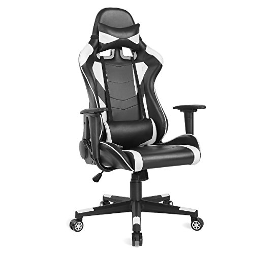 AuAg Ergonomic Gaming Chair Racing Style Adjustable High-Back PU Leather Office Chair Computer Desk Chair Executive Ergonomic Style Swivel Video Chair Headrest Lumbar Support (White)