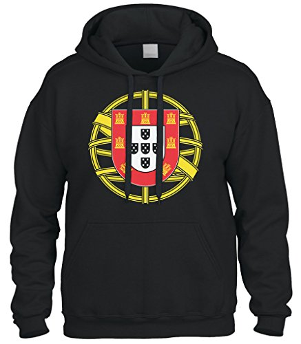 Cybertela Portugal Coat Of Arms Sweatshirt Hoodie Hoody (Black, X-Large) (Coat Portugal)
