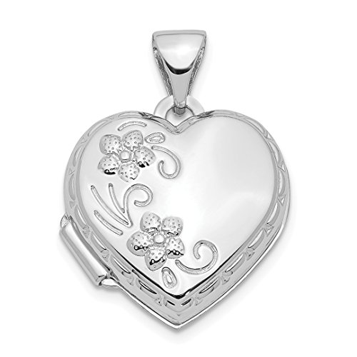 - 14k White Gold Heart Shaped Reversible Floral Photo Pendant Charm Locket Chain Necklace That Holds Pictures Fine Jewelry For Women Gift Set