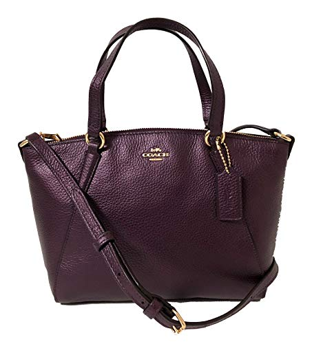 Coach Pebble Leather Mini Kelsey Satchel Crossbody Handbag (IM/Metallic ()