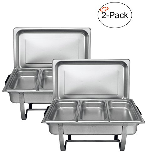 Tiger Chef 8 Quart Full Size Stainless Steel Chafer with 3 1/3rd Size Chafing Food Pans and Cool-Touch Plastic on top (2, Full Size with 1/3rd Inserts) (Buffet Server Stainless Steel Top)