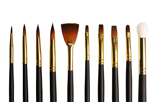 Watercolor brushes Paint Brushes for Art Supplies  For Watercolour Acrylic or Oil Colours Variety of Sizes for Hobby and Professional Artists Durable Premium Taklon Brush with Fine Tips in Case