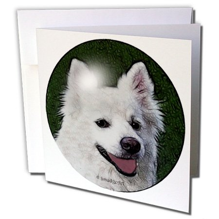 Art Designs - American Eskimo Dog - 1 Greeting Card with envelope (gc_8144_5) ()