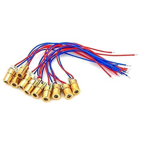 5mW 650nm Mini Semiconductor Dot Diode Module Head Kit Copper (10pcs) (High Power Burning Laser Pointer)
