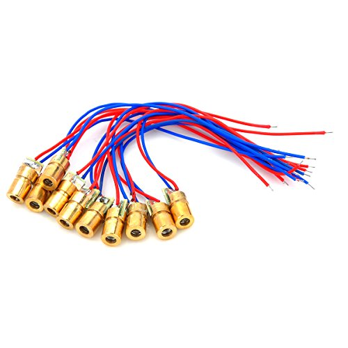 5mW 650nm Mini Semiconductor Dot Diode Module Head Kit Copper (10pcs) (Laser Diode Pointer)