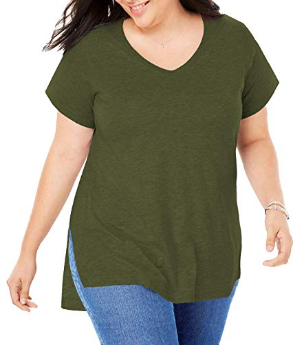 Women Plus Size Short Sleeve T Shirt Basic Tee Tops High Low Loose Shirts with Side Split (Army Green, X-Large)