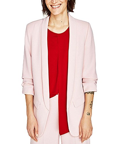 - MFrannie Womens Solid Open Front Shirring 3/4 Sleeve Work Blazer Blush Pink XL