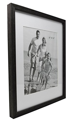 - 12x15 Gray Photo Picture Frame -Matted to Fit 8x10 inch Photo - Wall Mounting Hooks Included
