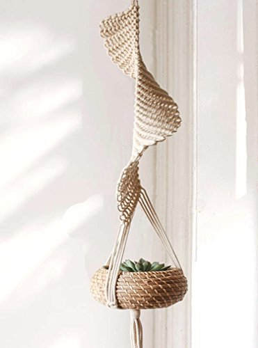 "UPC 614405053822, Macrame Hanging Planters Woven Planter Basket Cotton Rope Home Decor,37""L"