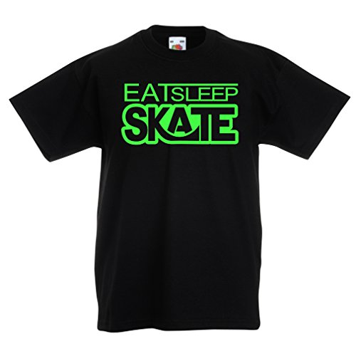 T Shirts for Kids Eat Sleep Skate - for Skaters, Skate Longboard, Skateboard Gifts (14-15 Years Black - Skate Exerciser