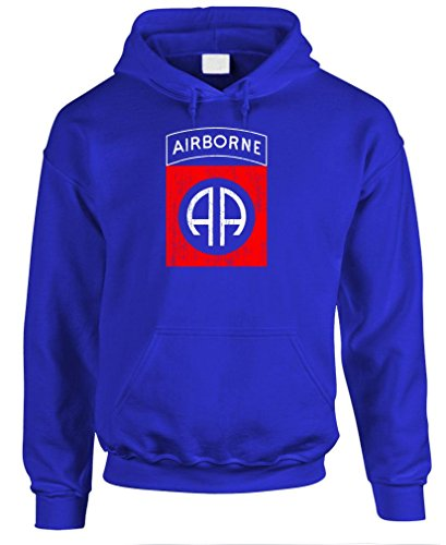 Airborne Hooded Sweatshirt (82ND AIRBORNE - us army airborne ranger Pullover Hoodie, 3XL, Royal)