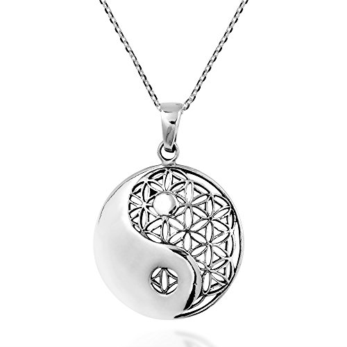 AeraVida Yin Yang Balance Flower of Life .925 Sterling Silver Necklace