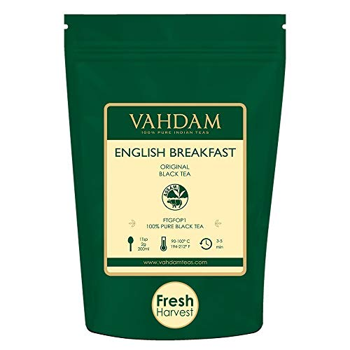 Original English Breakfast Black Tea Leaves (200+ Cups) STRONG, RICH & AROMATIC, Loose Leaf Tea, World's Finest Black Tea Loose Leaf - Brew Hot, Iced Tea, Kombucha Tea, FTGFOP1 Long Leaf Grade, 16oz