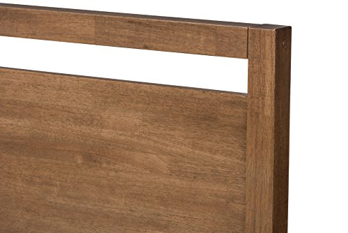 Baxton Studio 424-7620-AMZ Tracie Mid-Century Modern Solid Walnut Wood Open Frame Style Platform Bed, Queen