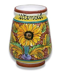 e Utensil Holder From Italy (Italian Hand Painted Pottery)