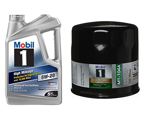 Mobil 1 5W-20 High Mileage Advanced Full Synthetic Motor Oil, 5-Quart, Single Bundle M1-104A Extended Performance Oil Filter