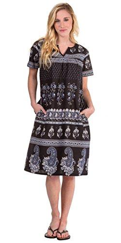 (La Cera Cotton Dresses - Short Sleeve Muu Muu Dress in Paisley Shade (Black/Gray/White,)