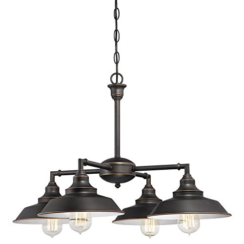 Westinghouse Lighting 6343300 Iron Hill Four-Light Indoor Convertible Chandelier/Semi-Flush Ceiling Fixture, Oil Rubbed Bronze Finish with Highlights and Metal Shades, White ()