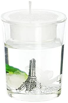 Fashioncraft Eiffel Tower Gel Candle Holder with White Rose and Leaf Detail