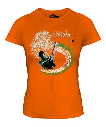 - CandyMix Women's India Cricketer T Shirt Fitted T-Shirt Top, Size X-Large, Color Orange