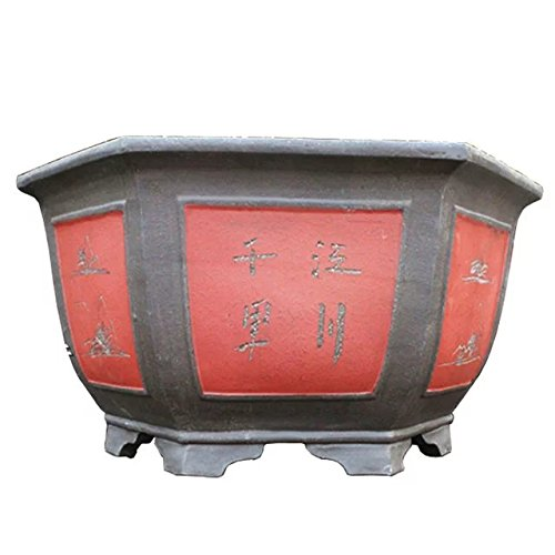 Carving-painting Red-brown Purple Clay Eight-corners-flange Type Floor Flowerpot by Sungao
