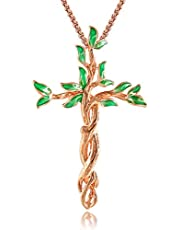 QLEESI Tree of Life Pendant Necklace for Women Mother Family Prosperity- Rose Gold Silver Crucifix Necklace Jewelry For Women Gift for Her Christmas Gifts Best Friend Gifts