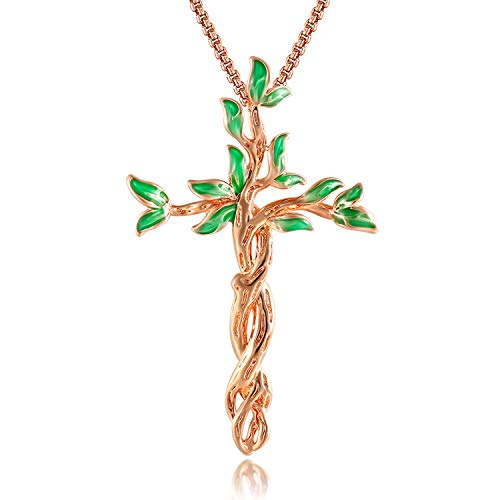 QLEESI Tree of Life Necklace for Mother Women Family Prosperity- Rose Gold Silver Charm Faith Leaf Crucifix Pendant Necklaces Gifts for Girls Mom Birthday Gift Jewelry (Green)